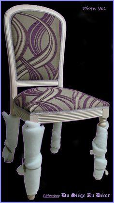 """Juste la demande d'une nouvelle couverture pour ces petites chaises """"modernes"""" d'une 20 aine d'années, et l'occasion pour nous de confirmer que les matériaux utilisés par la """"grande série"""" sont, ici encore, bien différents de ceux utilisés dans l'artisanat..."""