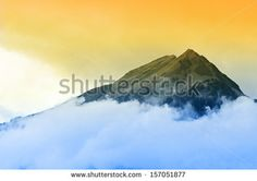 Clouds on mountain top   A beautiful moment Transfiguration of Jesus on mountain top - stock photo
