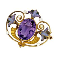 Egyptian Revival Amethyst, Lotus Leaf Motif Enamel and Gold Brooch American  Circa 1900