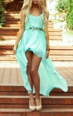 dress aqua mint short at front long at back belt