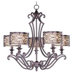 """5-light iron chandelier in umber bronze with a scrollwork motif and fabric shades.   Product: ChandelierConstruction Material: Iron, fabric and glassColor: Umber bronzeFeatures:  Includes 180"""" of wire36"""" Chain length Scrolling motifAccommodates: (5) 60 Watt incandescent bulbs - not includedDimensions: 27"""" H x 28"""" DiameterAssembly: Assembly required"""