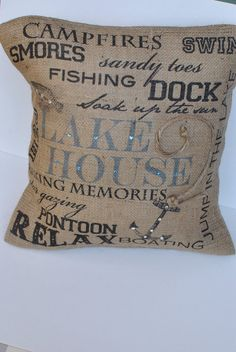 Lake House Subway Art burlap pillow by MonMellDesigns on Etsy