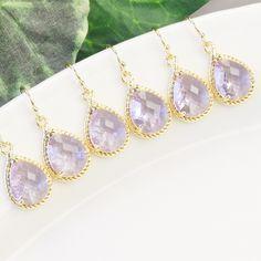Lavender Earrings - SET OF 5 Bridesmaid Jewelry SET - 10% Off - Gold Lavender Bridesmaid Earrings - Lavender Purple Crystal Drop Earrings by MyDistinctDesigns on Etsy