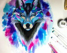 Dans la nature du spectre signé wolf de la vie par PixieColdArt