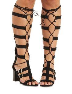 e31230f04086 Qupid Qupid Qupid Chunky Heel Lace-Up Gladiator Sandals ( 53) ❤ liked on