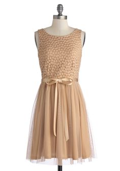 Flower Arch Dress. You love twirling under the blooming vines that hug your yards archway, while wearing the warm sandy hue of this satin-sashed dress. #tan #modcloth