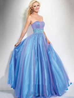 Organza Strapless Floor-length Ball Gown Beading Prom Dresses -NZD$197.89