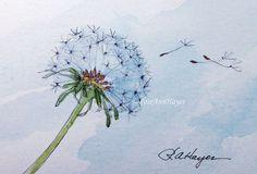 Watercolor Painting Print of Dandelion Wildflower Flower Floral Garden
