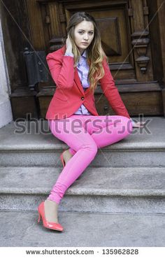 stock-photo-dressing-in-a-pink-blazer-pink-pants-and-pink-shoes-a-young-teenage-girl-is-sitting-on-door-steps-135962828.jpg (300×470)
