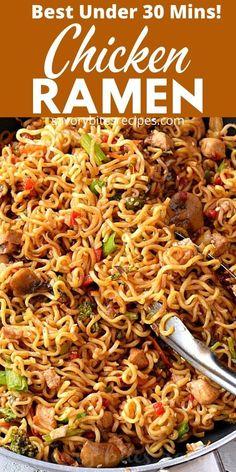 Ramen Noodle Recipes, Stir Fry Recipes, Ramen Noodles, Cooking Recipes, Fast Recipes, Chicken Ramen Recipe, Skillet Chicken, Chicken Recipes, Pasta Dishes