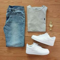 Outfit grid Light wash jeans - Mens Shirts Casual - Ideas of Mens Shirts Casual - Outfit grid Light wash jeans Komplette Outfits, Casual Outfits, Men Casual, Fashion Outfits, Fashion Trends, Summer Outfits, Men Shoes Casual, Nike Shoes Outfits, Hipster Outfits