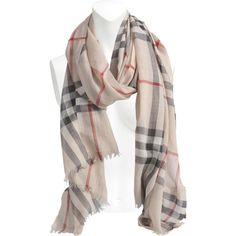 Burberry Gauze Giant Check scarf (510 CAD) ❤ liked on Polyvore featuring accessories, scarves, printed, burberry shawl, burberry, burberry scarves and gauze scarves