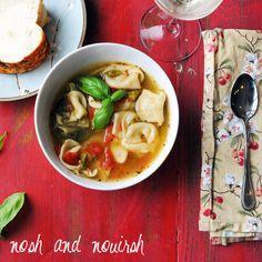Crockpot Tuscan Tortellini // spinach, tomato, asparagus, veggie broth, white wine, basil, parm, spices, cheese tortellini