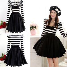 Fashion Boat Neck Long Sleeve A Line Cotton Mini Dress
