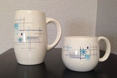 Franciscan Oasis 50s midcentury modern dinnerware 1955.  Large and small mugs