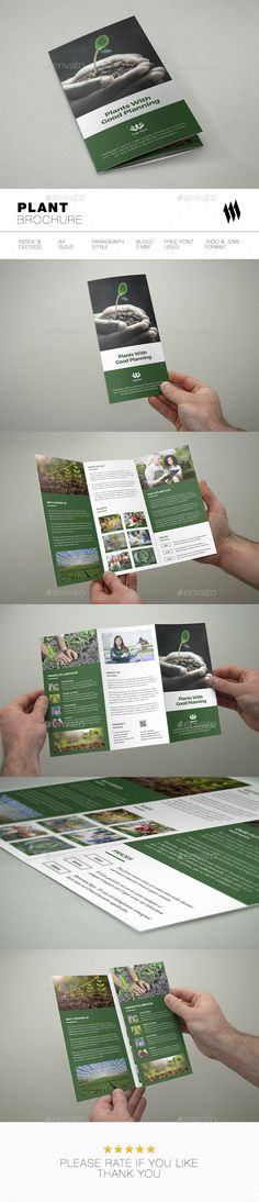 Trifold Plant Brochure — InDesign INDD #Botanical Brochure #farmer • Download ➝ https://graphicriver.net/item/trifold-plant-brochure/19167164?ref=pxcr