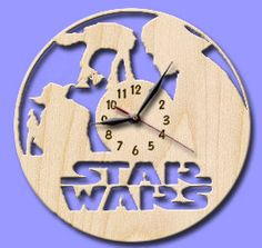Star Wars  Wooden Wall Clock 12 30cm / Laser Cut / by WoodenLog