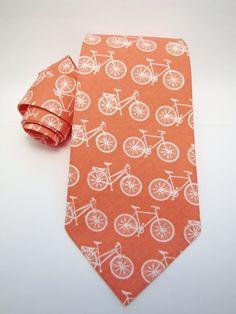 Men's Necktie - Orgainc Coral Bicycle. $38.00, via Etsy.