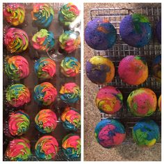 Tye dyed / tie dyed cupcakes and frosting