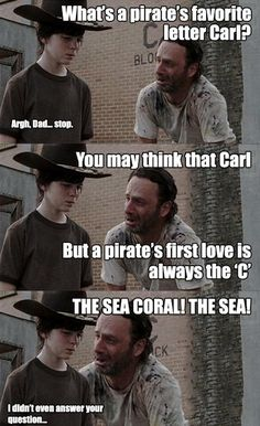 We show you the best dad jokes from the Rick & Carl meme in this funny Smosh gallery! Walking Dead Funny, Walking Dad Jokes, Carl Walking Dead, Rick Memes, Twd Memes, Funny Memes, Hilarious, Funny Shit, Funny Stuff