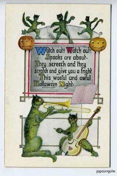 Halloween Green Cats JOL Poem Postcard ~~ how very strange. Halloween Poems, Halloween School Treats, Halloween Cards, Holidays Halloween, Scary Halloween, Halloween Stuff, Happy Halloween, Vintage Halloween Images, Halloween