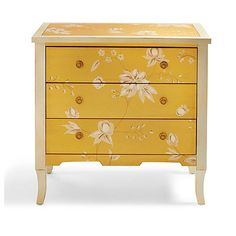 Our romantic, handpainted Millie Chest looks like it came from a fairy tale. And like a fairy tale, it has a sweet surprise: the three drawers are painted    a different, solid color than the rest of the chest, for a touch of cheerful fun whenever you pull them open. Look closely, and you also see that    the prettily painted floral motifs in the main overall design are edged with white for a visual lift. Brass ring drawer pulls complete the feminine,    vintage look. The apron has a sca...