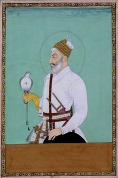 Sultan Jamshid Qutb Shah of Golconda c. 1680 India, Deccan, Golconda Opaque watercolour and gold on paper h. 20.0 cm UEA 537