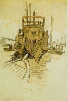 """""""La jonque japonaise"""". En bon breton qu'il était,  Méheut s'intéressa à  la vie des ports  . Quoi de plus naturel alors que de dessiner cette jonque , bateau de cabotage au proéminent château arrière et au gouvernail imposant."""