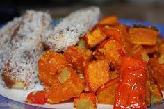 Auch Jenny ist begeistert von Vegan for Fit - und so gab es sowohl zu Abend als auch zu Mittag dieses Kürbis-Papika-Gemüse mit Kokos-Tofu-Sticks
