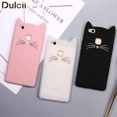 Dulcii Phone Cases for Huawei P8 P10 P9 Lite Shell Lovely 3D Moustache Cat Soft Silicone Protective Cover for Huawei P9 Lite Bag