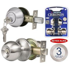 Chronos Combo Entry and Deadbolt Single Cylinder Keyed-alike Stainless Steel (Silver) Finish Door Lever Lock Set Knob Handle Set (CON-CHR-Comss)