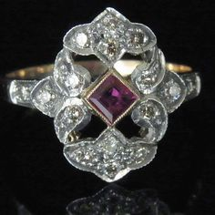 art noveau ruby ring