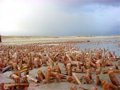 Scheermesjes op het strand van Terschelling.
