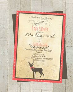 Rustic Deer Baby Shower Boy Girl Shower by themilkandcreamco Rustic Deer Baby Shower, Boy Girl Shower Personalized Invite, Deer Baby Shower, Baby Shower Card Customizable