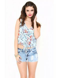 #floral tie front top available at Styles for Les