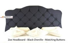 Zoe Chenille Headboard All Sizes & Colours Diamante Buttons French Collection Black Velvet Bed, Bed Wrap, Black Headboard, Matching Bedding And Curtains, French Collection, Faux Suede Fabric, Luxury Bedding Collections, Chenille Fabric, Linen Bedding