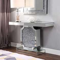 Noralie 31 Inch Console Table Acme Furniture in Sofa Tables. This Noralie Console Table by Acme Furniture will make a beautiful addition to your home. Iron Patio Furniture, Mirrored Furniture, Furniture Decor, Living Room Furniture, Furniture Design, Acme Furniture, Diamond Furniture, Furniture Arrangement, Garden Furniture