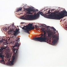 Salted #Caramel #Chocolate #Cookies. Enough said. #dessert #homemade #food #foodphotography #sweets #baking http://evpo.st/1oi5RPv