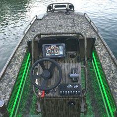 Amazing custom jon boat with LED lights Mud Boats, Kayak Boats, Duck Hunting Boat, Duck Boat, Aluminum Fishing Boats, Aluminum Boat, Jon Boats For Sale, John Boats, Flat Bottom Boats