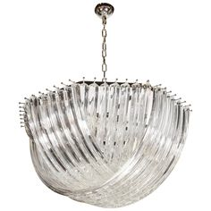 Large Modernist Murano Glass Ribbon Chandelier | From a unique collection of antique and modern chandeliers and pendants  at https://www.1stdibs.com/furniture/lighting/chandeliers-pendant-lights/