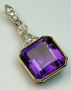 Art Deco Siberian Amethyst Pendant 1930s - Antique Jewelry | Vintage Rings | Faberge Eggs