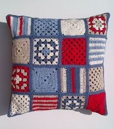 SALE Nautical crochet cushion cover by Jayneanncrochet on Etsy