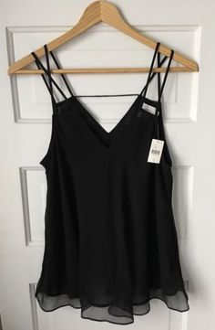 NWT-Anthropologie-Nella-Silk-Multi-Strap-Origami-Tank-6-Black-Top-HD-in-Paris