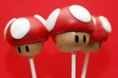 """Here are some Mario Mushroom cake pops that I made for my a little boy's birthday party! Thank you for inspiring me in so many new ways to express myself through baking!"""" - Kerstin Return to Pop Stars Index Bolo Do Mario, Bolo Super Mario, Super Mario Birthday, Mario Birthday Party, Super Mario Party, Wii Party, 30th Birthday, Birthday Cake, Cakepops"""