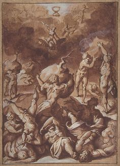 Jacopo Zucchi, c.1541-1596, Italian, Jupiter Fighting the Giants.  Pen and brown ink, brush with brown and mauve wash, highlighted with white gouache, over traces of black chalk, on light tan laid paper, 28.6 x 21.1 cm.