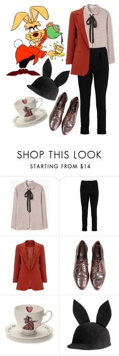 """""""March Hare Costume"""" by beetlescarab ❤ liked on Polyvore featuring MANGO, Boohoo, Mrs Moore, disney and halloweencostume"""