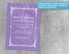 Lavender Rustic Barn Wood Bridal Shower Invitations