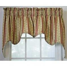 @Overstock - This fully lined floral swag valance features a stylish Empress design. The brick-colored floral stripe pattern looks great with a variety of interior decors. This valance measures 28 long x 70 wide and includes two pieces for easy use.http://www.overstock.com/Home-Garden/Suzanne-Stripe-2-piece-Swag-Empress-Valance/5658607/product.html?CID=214117 $38.09