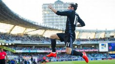 Gareth Bale celebrates after opening the scoring for Real Madrid in a win against Real Sociedad.