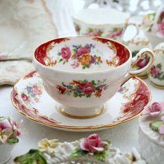 VINTAGE CUP AND SAUCER.PARAGON BONE CHINA.TEA.PINK ROSE-ROSEBUD.ROCKINGHAM.RED   eBay
